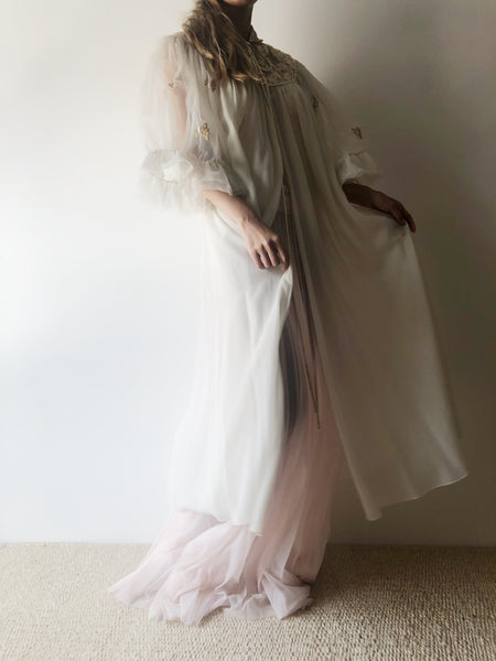 1960s White Chiffon Dressing Robe - One Size