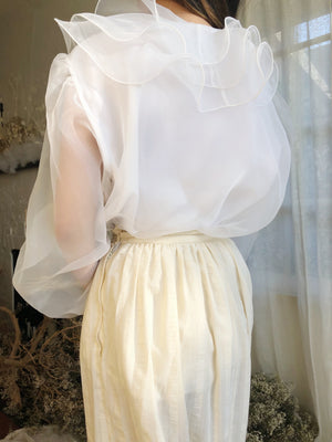 Vintage White Ruffled Top - M