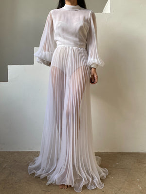 Vintage Chiffon Bishop Sleeve Pleated Gown - S
