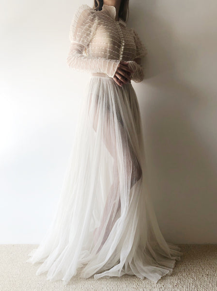 1930s Cream Juliet Sleeves Tulle Gown - XS/S