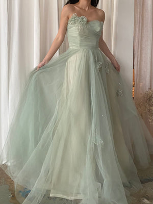 1950s Seafoam Tulle Gown - S