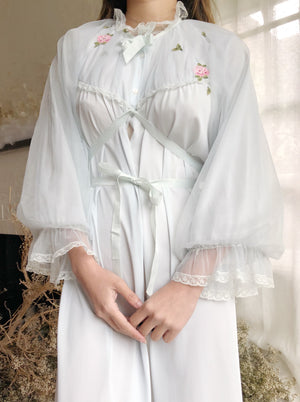 1950s Baby Blue Tricot Puff Sleeve Dressing Robe - OSFM