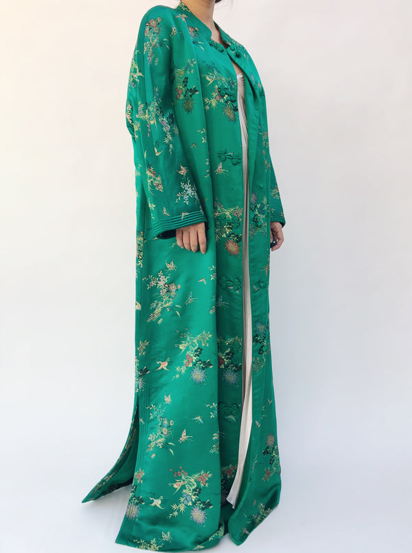 1960s Emerald Silk Satin Long Robe - M/L