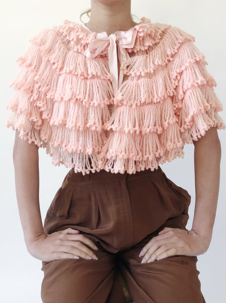1940s Acrylic Yarn Light Pink Capelet - One Size