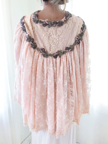 1950s Pink Beaded Lace Cape - One Size