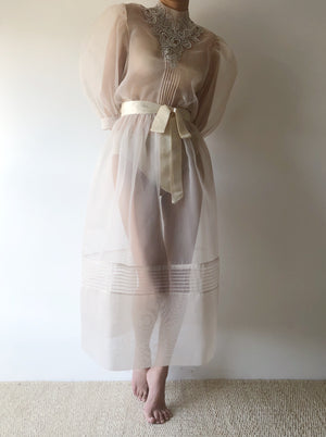 1980s Eggshell Poly Organza Dress - S