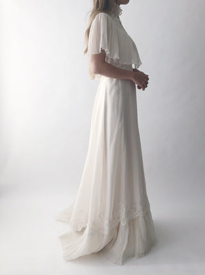 1970s Pleated High Neck Chiffon Gown - S