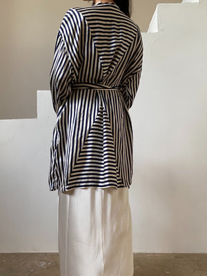 Vintage Striped Silk Floral Robe - OSFM