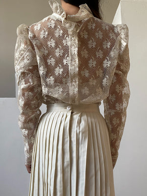 1970s Sheer Lace Top - S/M