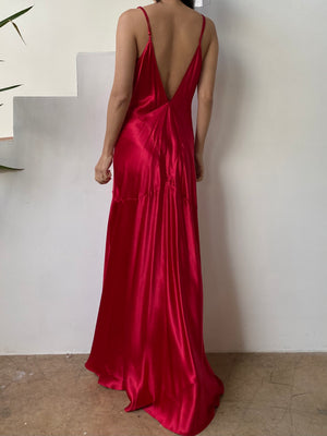 Y2K Red Silk Bias Cut Slip Dress - S/M