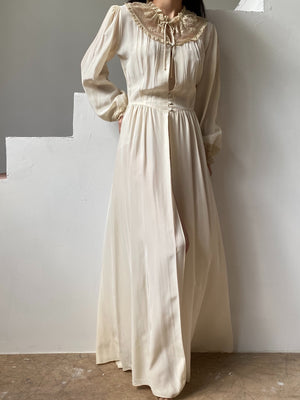 1930s Silky Rayon Poet Sleeve Dressing Gown - XS/S