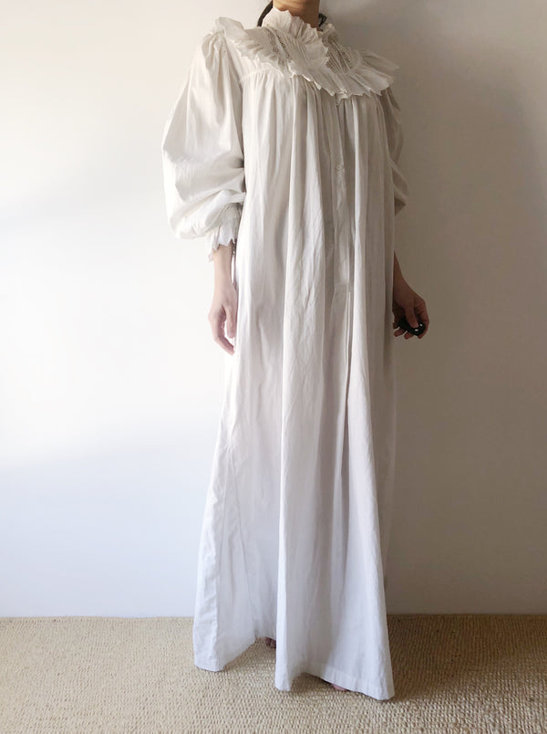 Antique Puff Sleeves Nightgown Dress - OSFM