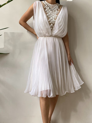 1960s White Necklace Chiffon Dress - S/M