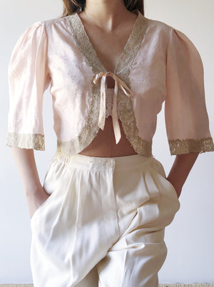 1930s Silk Jacquard Top - S/M