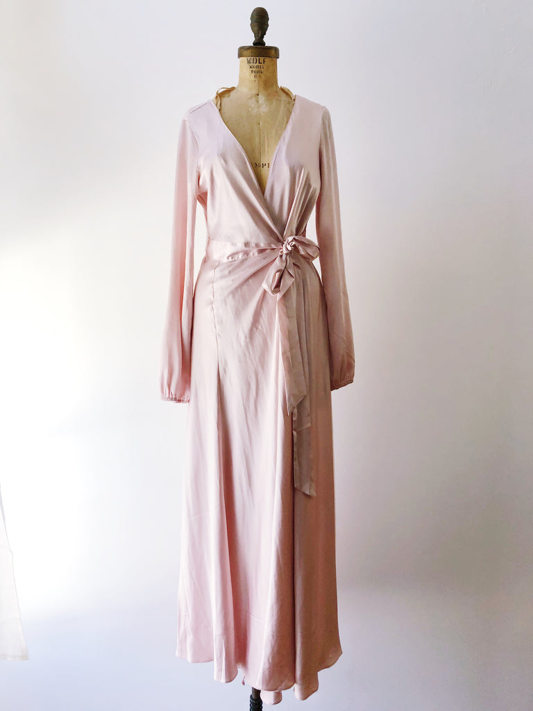86594827ac10 Rose Silk Poet Sleeves Wrap Dress - M | G O S S A M E R