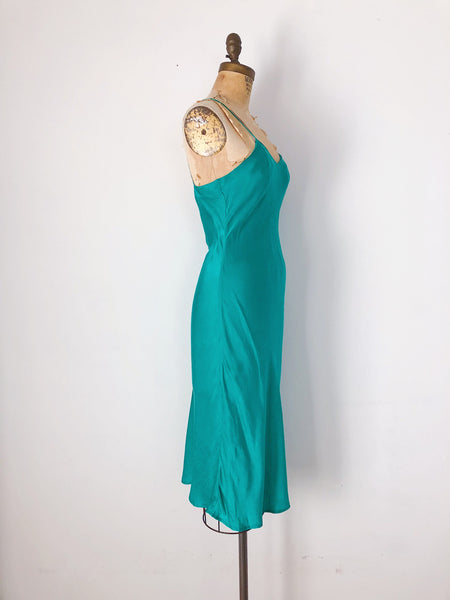 Vintage Emerald Green Silk Slip - S