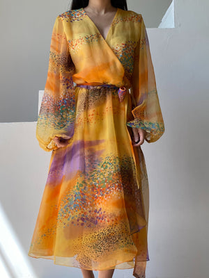 1980s Abstract Chiffon Wrap Dress - M