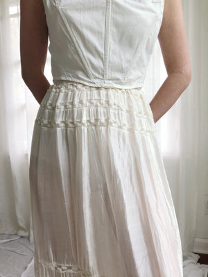 Antique Silk and Lace Skirt - XS-M