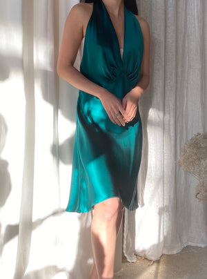 Vintage Emerald Silk Slip Dress - M