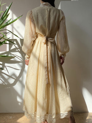 1970s Gunne Sax Calico Maxi Dress - S/M