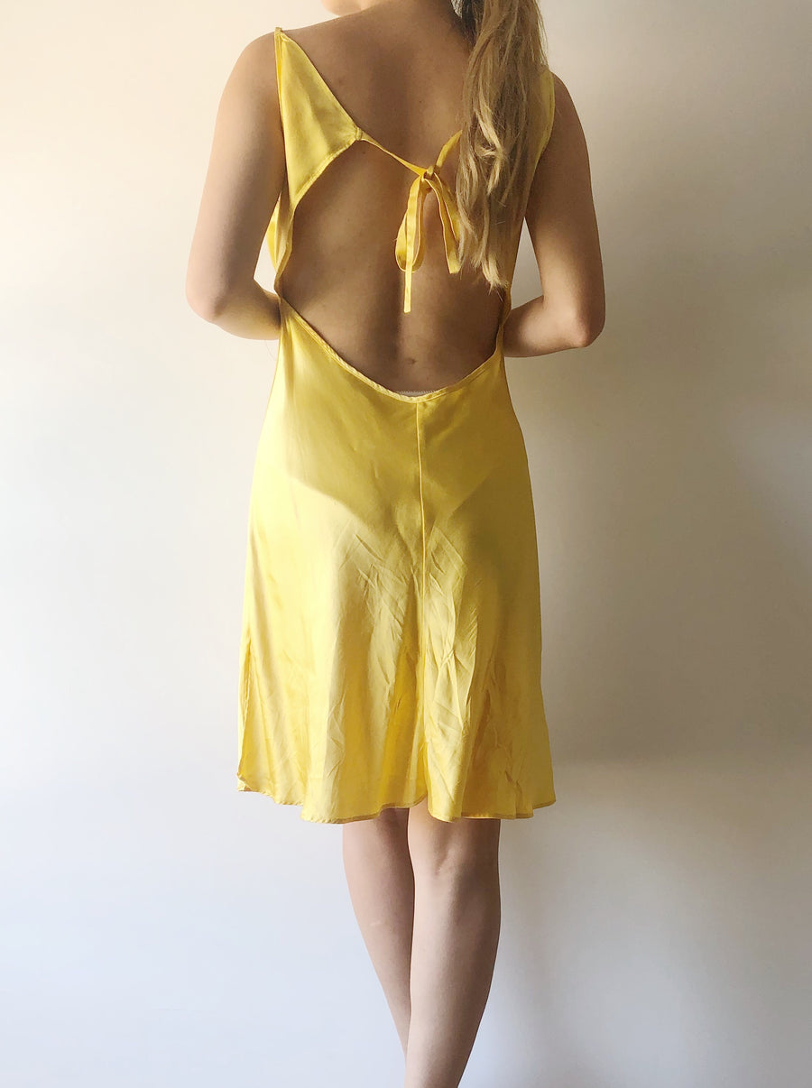 1980s Yellow Silk Short Bias Cut Slip Dress - S