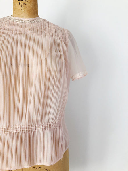 1960s Sheer Nylon Pink Pleated Top - M