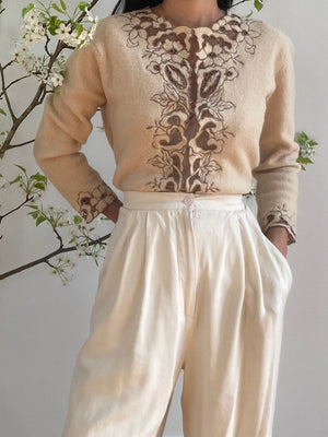 1950s Beige and Angora Cutout Cardigan - S