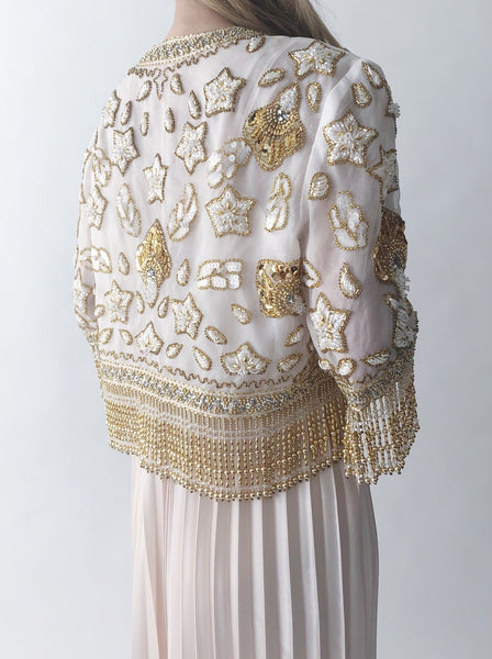 1960s Ivory Beaded Top/Jacket - S/M