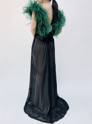 1930s Sheer Chiffon Black Gown with Feather - S/M