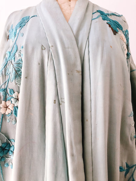 Antique Baby Blue Silk Embroidered Kimono - One Size