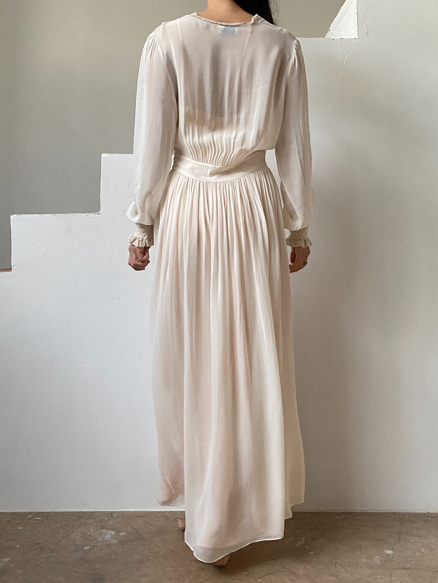 1930s Chiffon Robe with Long Sleeves - S/M