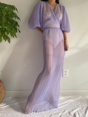 Vintage Sheer Lilac Pleated Dress - M