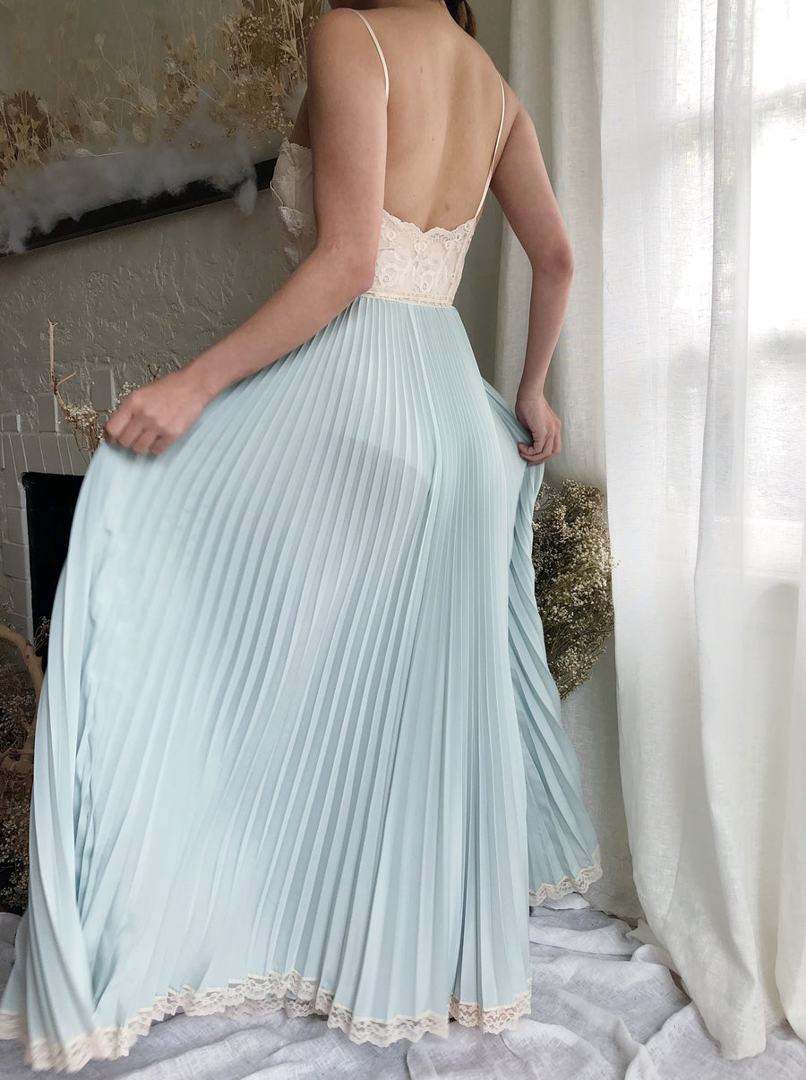 1950s/60s Baby Blue Rayon Slip Gown - XS/S