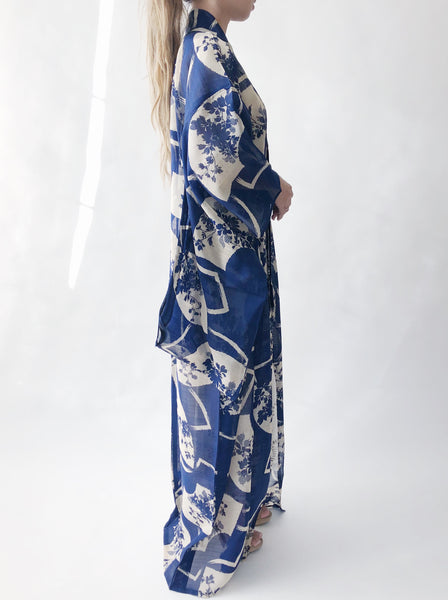 Antique Sheer Blue Silk Kimono - One Size