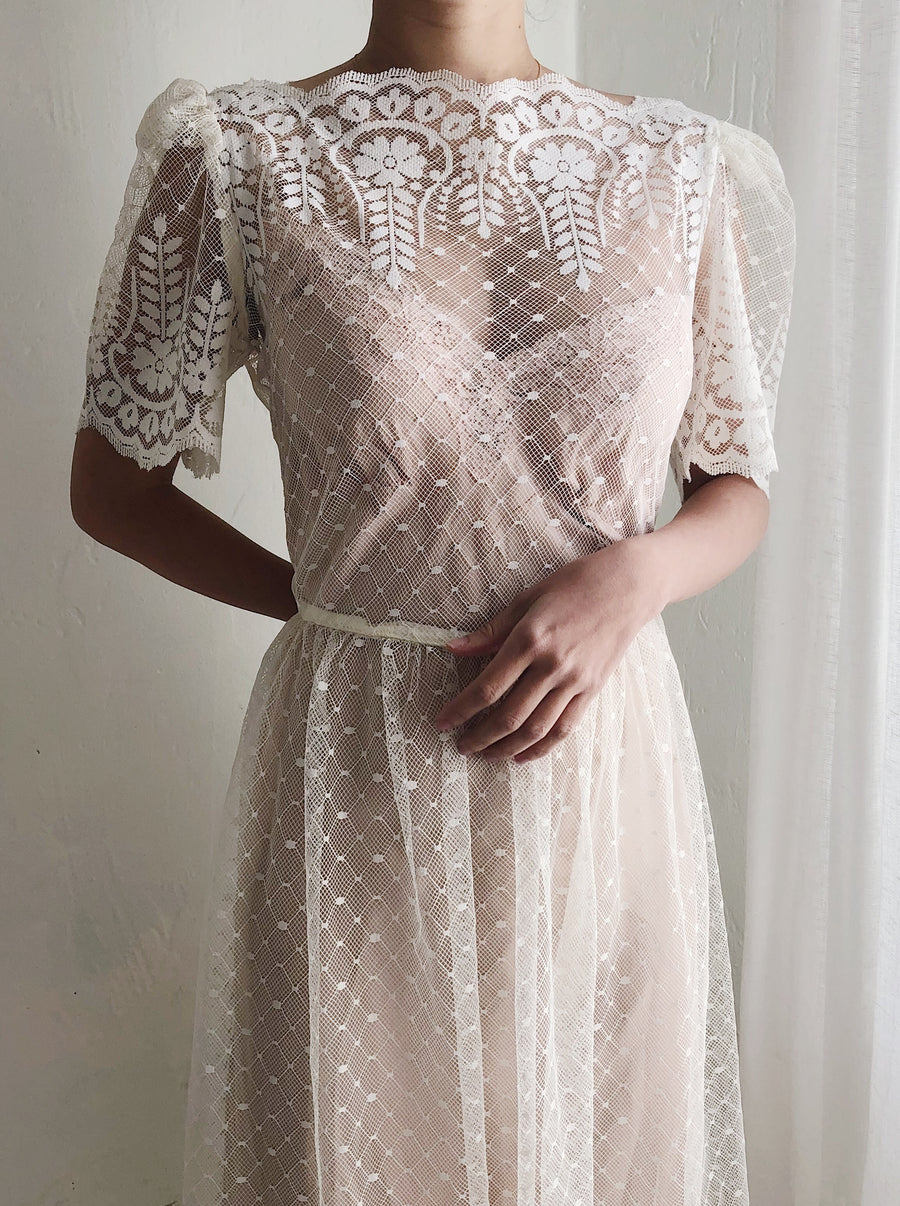 1980s Net Lace Dress - S/M