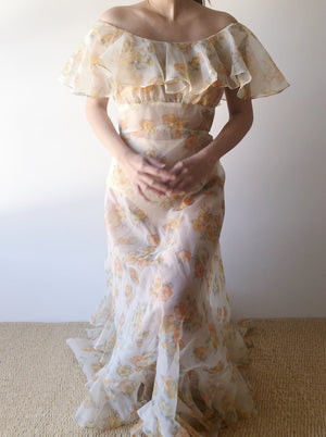 1970s Floral Nylon Chiffon Dress - S