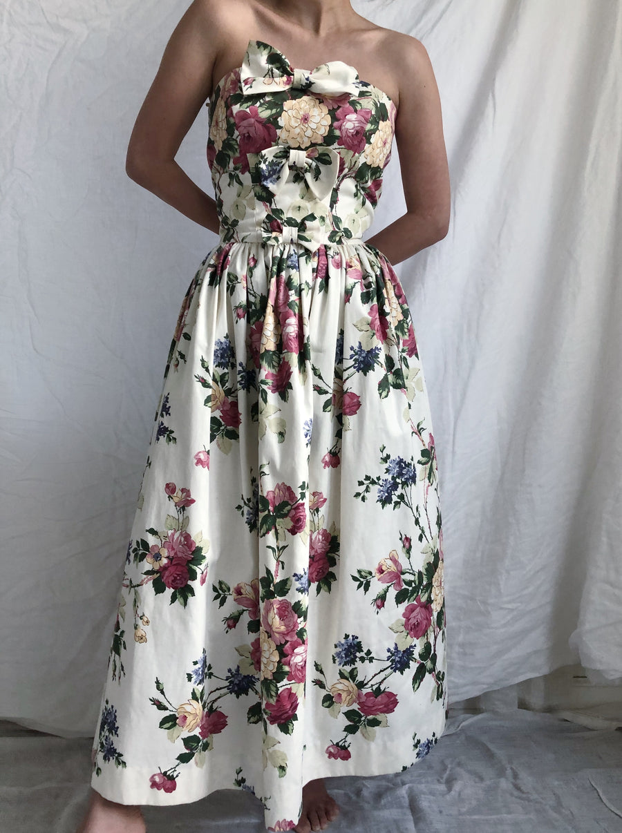 1980s Strapless Floral Dress - S