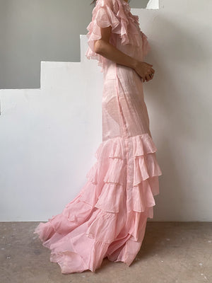 1930s Pink Organdy Ruffle Gown - S/M