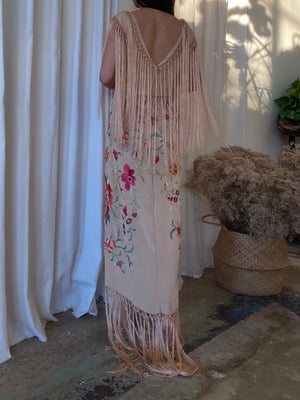 Antique Embroidered Dress with Fringe - S