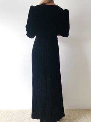 1940s Silk Velvet Smocked Waist Midi Dress - S/M