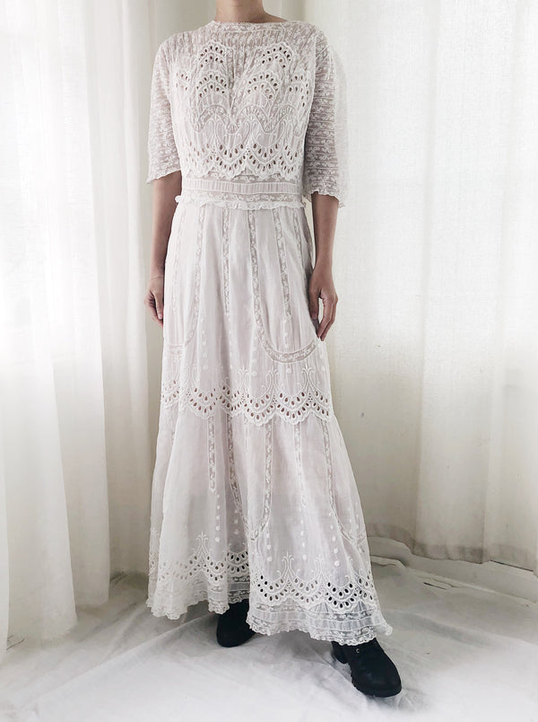 Antique Embroidered Cotton and Mixed Lace Lawn Dress - S/M