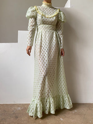 1970s Celadon Lace Juliet Sleeves Dress - XS