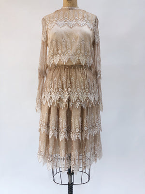 1960s Tiered Mocha Silk Lace Dress - S