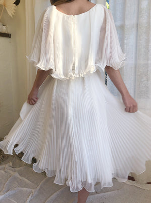 Vintage White Chiffon Pleated Dress - M