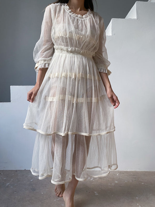 Antique Ivory Tulle Dress - XS