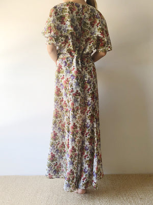 1980s Floral Faux Wrap Dress - M