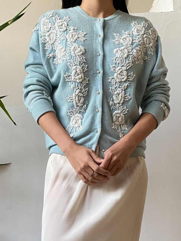 1950s Light Blue Beaded Wool/Angora Cardigan - S
