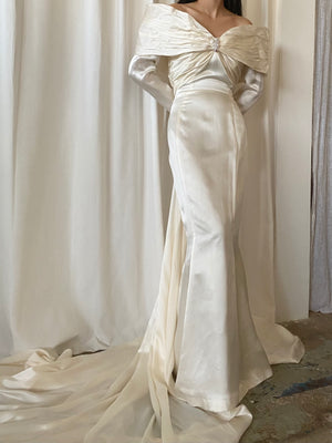 Vintage Silk Charmeuse Wedding Dress - S/M 6