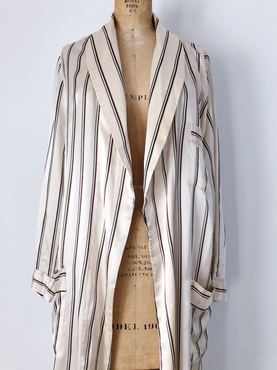 1980s Beige Striped Silk Duster Robe  - One Size