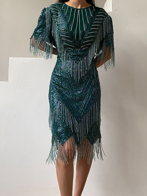 1980s Emerald Silk Beaded Dress - M